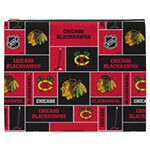 Chicago Blackhawks Nhl Block Fleece Fabric Cosmetic Bag (XXXL)  Front