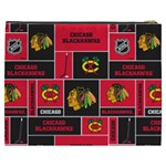 Chicago Blackhawks Nhl Block Fleece Fabric Cosmetic Bag (XXXL)  Back