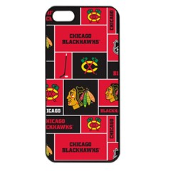 Chicago Blackhawks Nhl Block Fleece Fabric Apple iPhone 5 Seamless Case (Black)