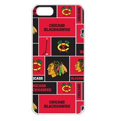 Chicago Blackhawks Nhl Block Fleece Fabric Apple Iphone 5 Seamless Case (white)