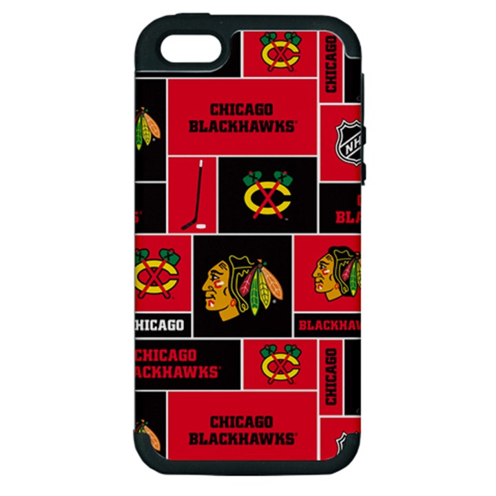 Chicago Blackhawks Nhl Block Fleece Fabric Apple iPhone 5 Hardshell Case (PC+Silicone)