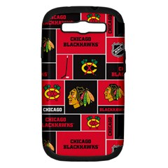 Chicago Blackhawks Nhl Block Fleece Fabric Samsung Galaxy S III Hardshell Case (PC+Silicone)