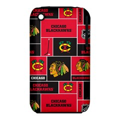 Chicago Blackhawks Nhl Block Fleece Fabric Apple iPhone 3G/3GS Hardshell Case (PC+Silicone)