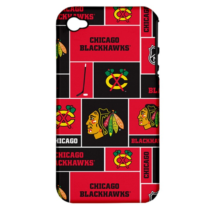 Chicago Blackhawks Nhl Block Fleece Fabric Apple iPhone 4/4S Hardshell Case (PC+Silicone)