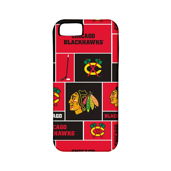 Chicago Blackhawks Nhl Block Fleece Fabric Apple iPhone 5 Classic Hardshell Case (PC+Silicone)