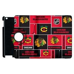 Chicago Blackhawks Nhl Block Fleece Fabric Apple Ipad 2 Flip 360 Case