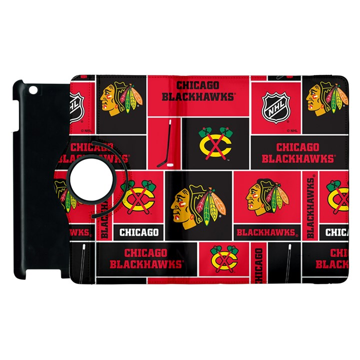 Chicago Blackhawks Nhl Block Fleece Fabric Apple iPad 3/4 Flip 360 Case