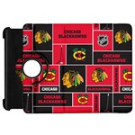 Chicago Blackhawks Nhl Block Fleece Fabric Kindle Fire HD Flip 360 Case Front