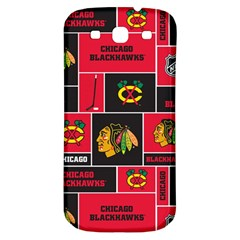 Chicago Blackhawks Nhl Block Fleece Fabric Samsung Galaxy S3 S III Classic Hardshell Back Case
