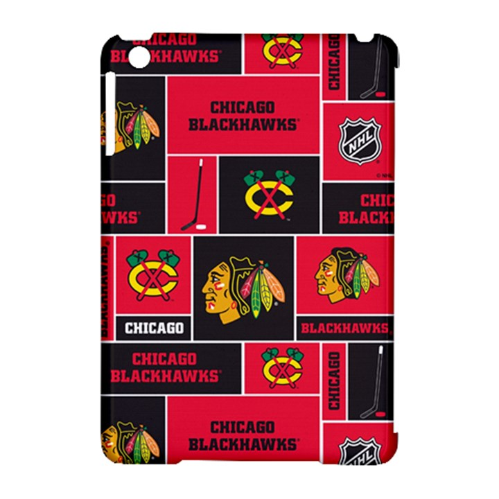 Chicago Blackhawks Nhl Block Fleece Fabric Apple iPad Mini Hardshell Case (Compatible with Smart Cover)