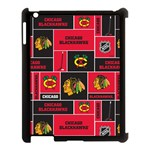 Chicago Blackhawks Nhl Block Fleece Fabric Apple iPad 3/4 Case (Black) Front