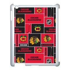 Chicago Blackhawks Nhl Block Fleece Fabric Apple iPad 3/4 Case (White)