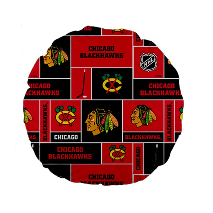 Chicago Blackhawks Nhl Block Fleece Fabric Standard 15  Premium Round Cushions