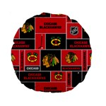Chicago Blackhawks Nhl Block Fleece Fabric Standard 15  Premium Round Cushions Back