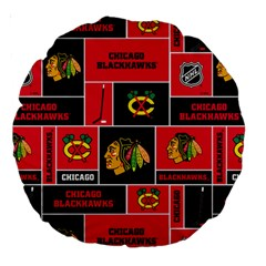 Chicago Blackhawks Nhl Block Fleece Fabric Large 18  Premium Round Cushions