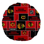 Chicago Blackhawks Nhl Block Fleece Fabric Large 18  Premium Round Cushions Back