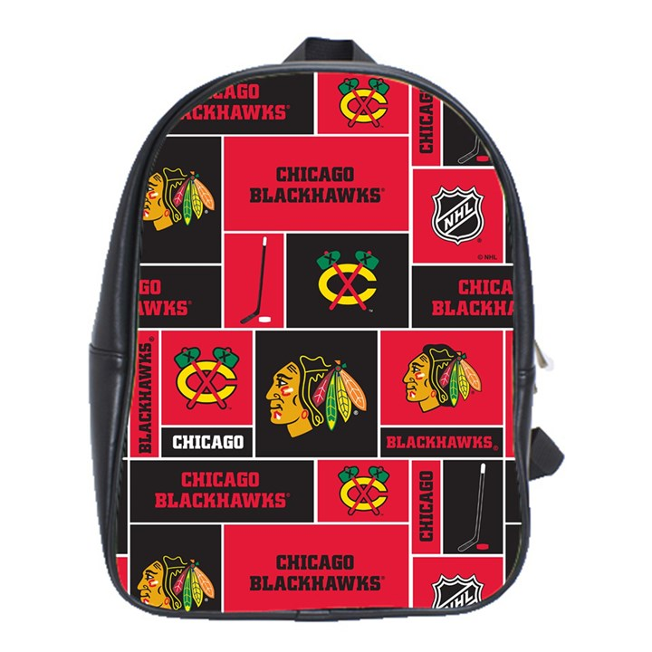 Chicago Blackhawks Nhl Block Fleece Fabric School Bags (XL)