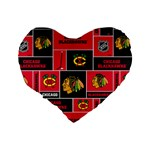 Chicago Blackhawks Nhl Block Fleece Fabric Standard 16  Premium Heart Shape Cushions Back
