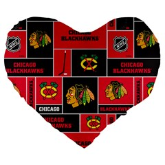 Chicago Blackhawks Nhl Block Fleece Fabric Large 19  Premium Heart Shape Cushions