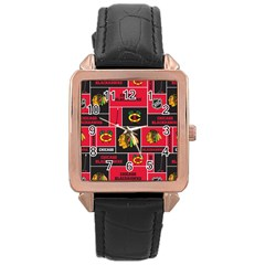Chicago Blackhawks Nhl Block Fleece Fabric Rose Gold Leather Watch