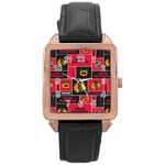 Chicago Blackhawks Nhl Block Fleece Fabric Rose Gold Leather Watch  Front