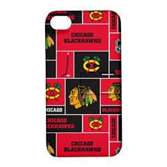 Chicago Blackhawks Nhl Block Fleece Fabric Apple iPhone 4/4S Hardshell Case with Stand
