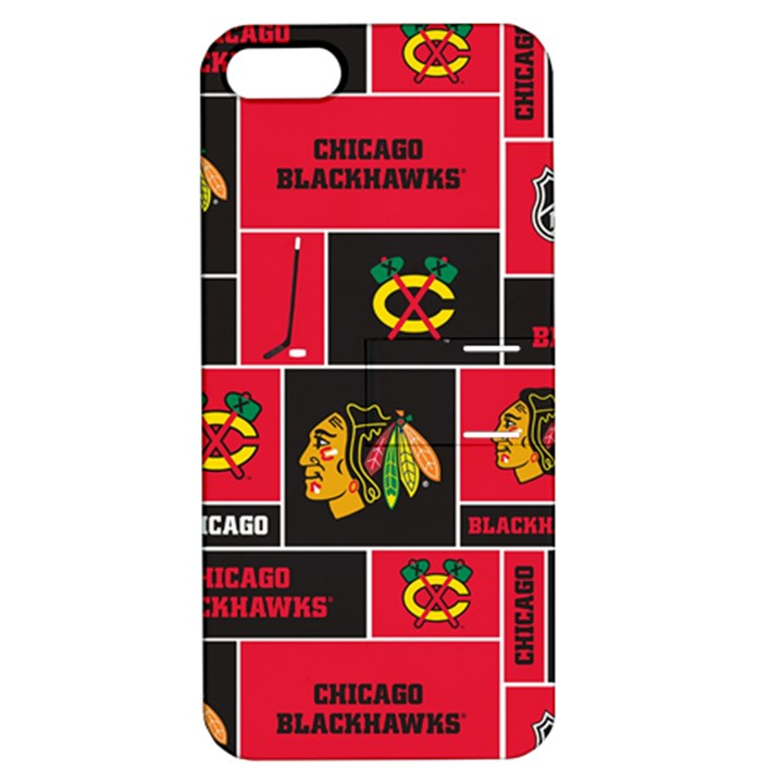 Chicago Blackhawks Nhl Block Fleece Fabric Apple iPhone 5 Hardshell Case with Stand