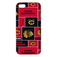 Chicago Blackhawks Nhl Block Fleece Fabric Apple iPhone 5 Premium Hardshell Case