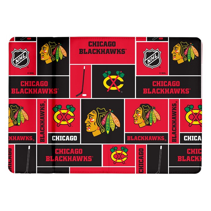 Chicago Blackhawks Nhl Block Fleece Fabric Samsung Galaxy Tab 10.1  P7500 Flip Case