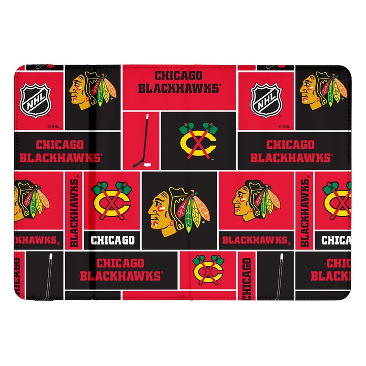 Chicago Blackhawks Nhl Block Fleece Fabric Samsung Galaxy Tab 8.9  P7300 Flip Case