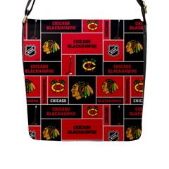 Chicago Blackhawks Nhl Block Fleece Fabric Flap Messenger Bag (L)
