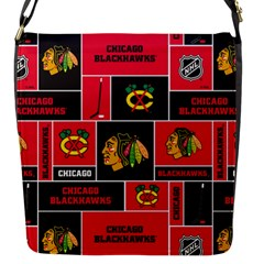 Chicago Blackhawks Nhl Block Fleece Fabric Flap Messenger Bag (s)