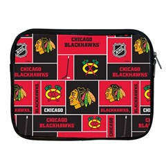 Chicago Blackhawks Nhl Block Fleece Fabric Apple iPad 2/3/4 Zipper Cases