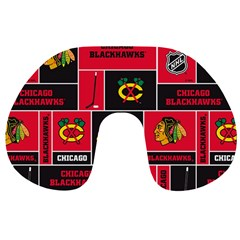 Chicago Blackhawks Nhl Block Fleece Fabric Travel Neck Pillows