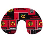 Chicago Blackhawks Nhl Block Fleece Fabric Travel Neck Pillows Front