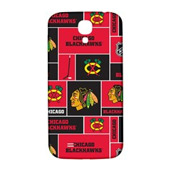Chicago Blackhawks Nhl Block Fleece Fabric Samsung Galaxy S4 I9500/I9505  Hardshell Back Case