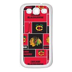 Chicago Blackhawks Nhl Block Fleece Fabric Samsung Galaxy S3 Back Case (White)