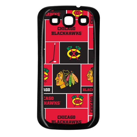 Chicago Blackhawks Nhl Block Fleece Fabric Samsung Galaxy S3 Back Case (Black)