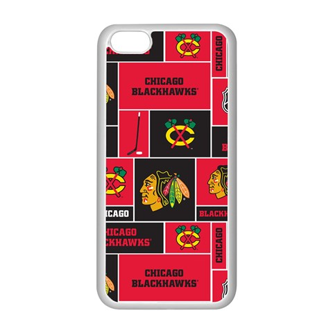 Chicago Blackhawks Nhl Block Fleece Fabric Apple iPhone 5C Seamless Case (White)