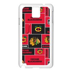 Chicago Blackhawks Nhl Block Fleece Fabric Samsung Galaxy Note 3 N9005 Case (White)