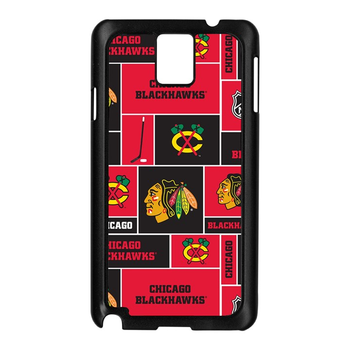 Chicago Blackhawks Nhl Block Fleece Fabric Samsung Galaxy Note 3 N9005 Case (Black)