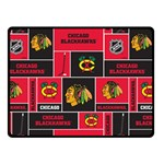 Chicago Blackhawks Nhl Block Fleece Fabric Double Sided Fleece Blanket (Small)  50 x40 Blanket Front