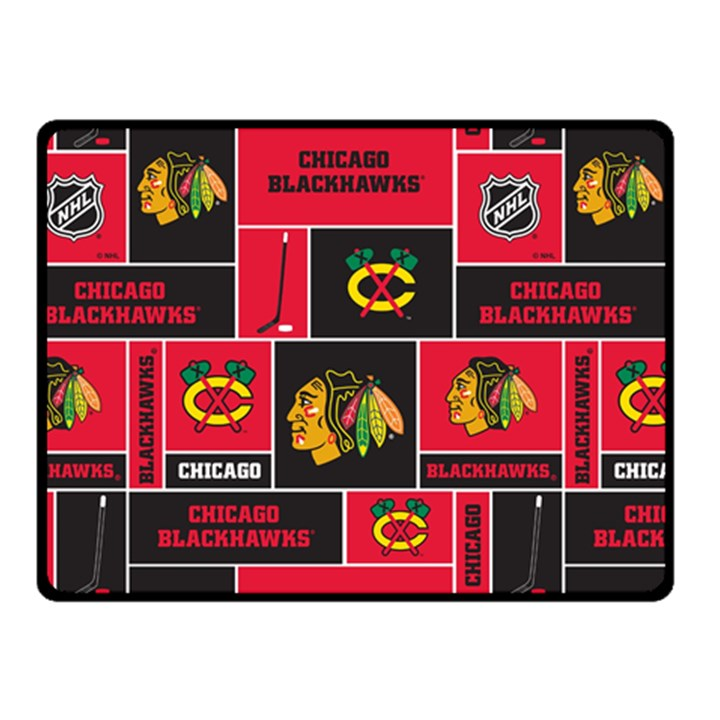 Chicago Blackhawks Nhl Block Fleece Fabric Double Sided Fleece Blanket (Small)