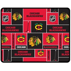 Chicago Blackhawks Nhl Block Fleece Fabric Double Sided Fleece Blanket (Medium)