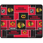 Chicago Blackhawks Nhl Block Fleece Fabric Double Sided Fleece Blanket (Medium)  60 x50 Blanket Front
