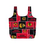Chicago Blackhawks Nhl Block Fleece Fabric Full Print Recycle Bags (S)  Back