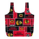 Chicago Blackhawks Nhl Block Fleece Fabric Full Print Recycle Bags (L)  Front