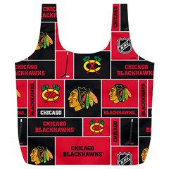 Chicago Blackhawks Nhl Block Fleece Fabric Full Print Recycle Bags (l)