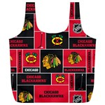 Chicago Blackhawks Nhl Block Fleece Fabric Full Print Recycle Bags (L)  Back