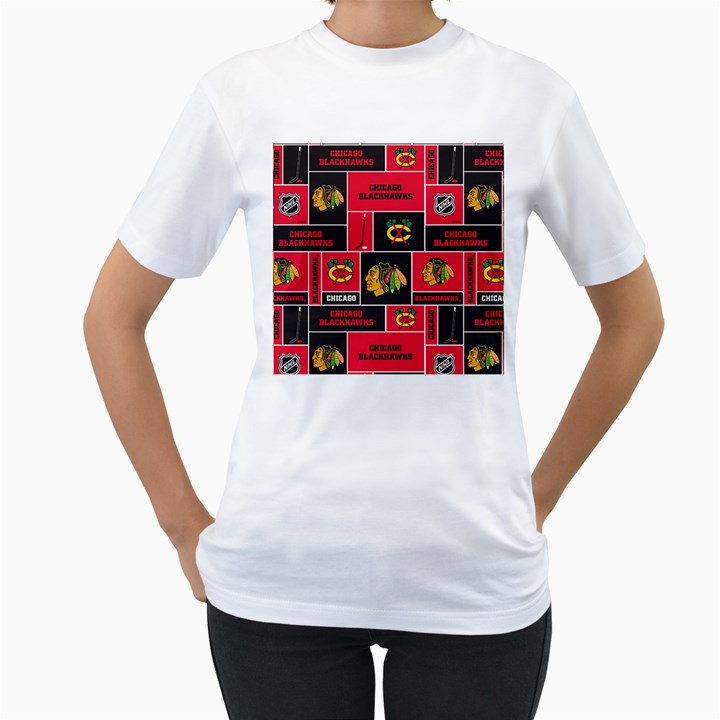 Chicago Blackhawks Nhl Block Fleece Fabric Women s T-Shirt (White)